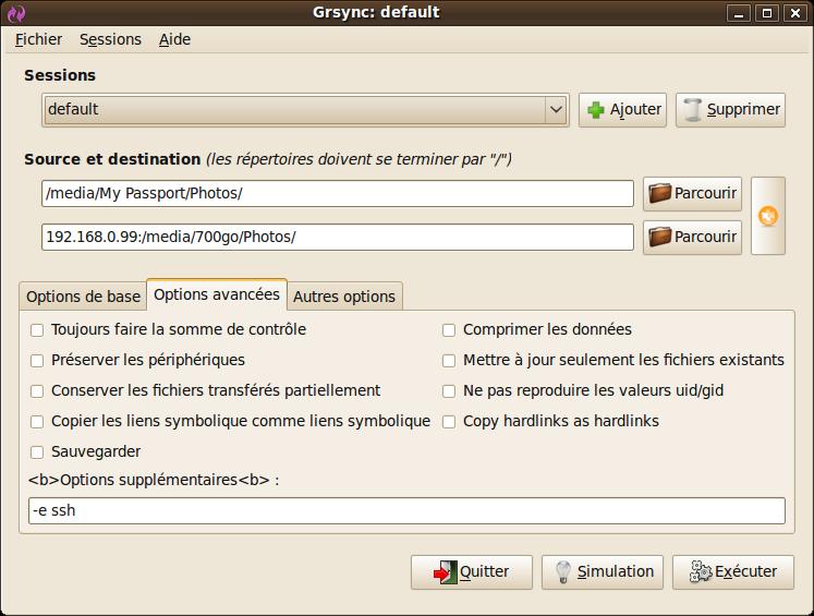 Capture-Grsync: default